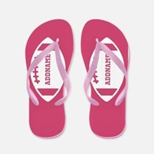 Pink Football Personalized Flip Flops