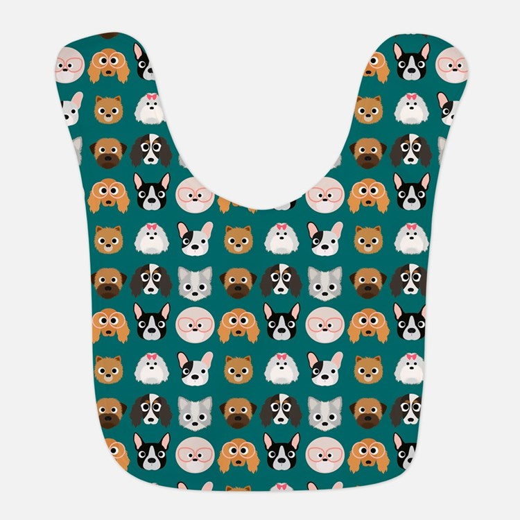 Cartoon Dogs on Teal Background Bib