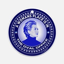 Funny Hillary Round Ornament