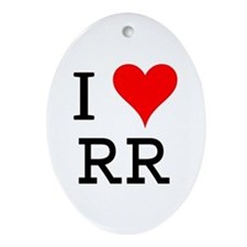 I Love RR Oval Ornament