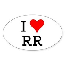 I Love RR Oval Decal
