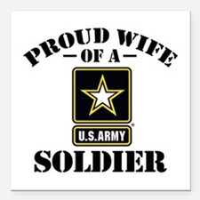 "Cute I love my army fiance Square Car Magnet 3"" x 3"""