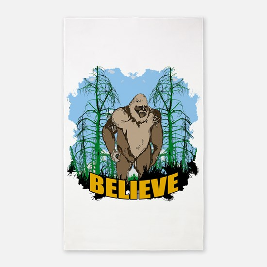 Believe in Bigfoot 3 3'x5' Area Rug