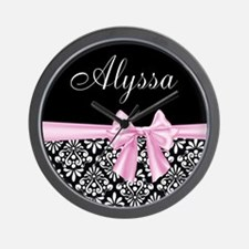 Black Pink Bow Damask Personalized Wall Clock