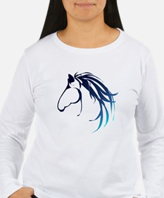 Classic Blue Horse Head Logo Long Sleeve T-Shirt