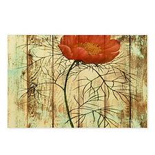 modern poppy flower barn wood Postcards (Package o