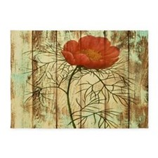 modern poppy flower barn wood 5'x7'Area Rug