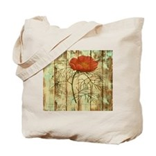 modern poppy flower barn wood Tote Bag