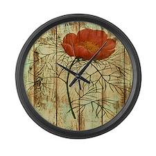 modern poppy flower barn wood Large Wall Clock