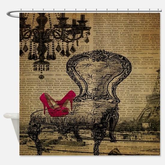 modern chandelier paris eiffel tower Shower Curtai