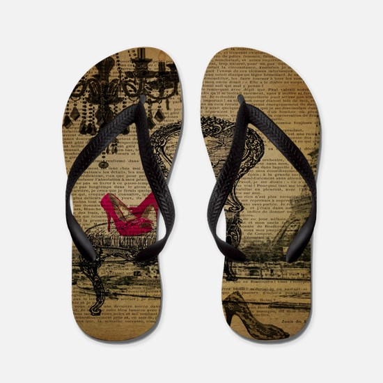 modern chandelier paris eiffel tower Flip Flops