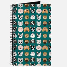 Cartoon Dogs on Teal Background Journal