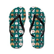 Cartoon Dogs on Teal Background Flip Flops