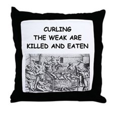 CURLING3 Throw Pillow