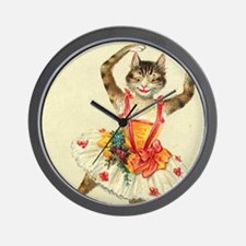 cat ballerina Wall Clock
