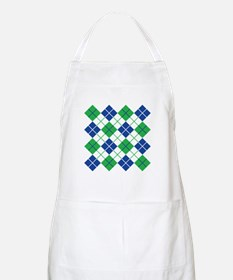 Argyle Design in Blue and Green Apron