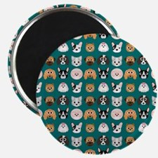 Cartoon Dogs on Teal Background Magnet