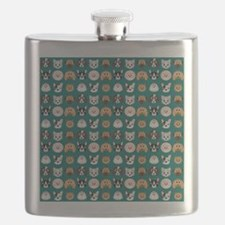 Cartoon Dogs on Teal Background Flask