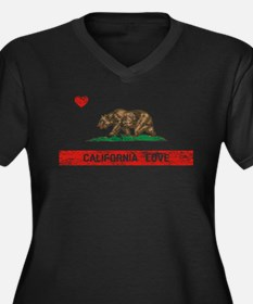 California Love Flag Distressed Plus Size T-Shirt