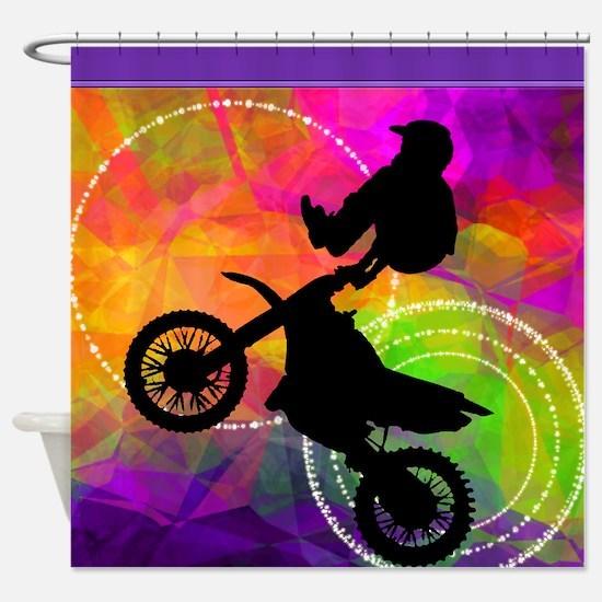 Motocross in Fire Circles SHOWER FINAL Shower Curt