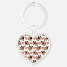 Pugs and Hearts Keychains