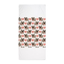 Pugs and Hearts Beach Towel