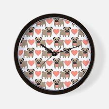 Pugs and Hearts Wall Clock