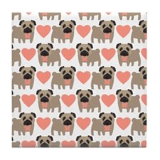Pugs and Hearts Tile Coaster