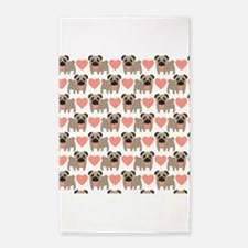 Pugs and Hearts 3'x5' Area Rug