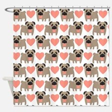 Pugs and Hearts Shower Curtain