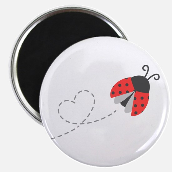 Cute Flying Ladybug, Heart Trail Magnets