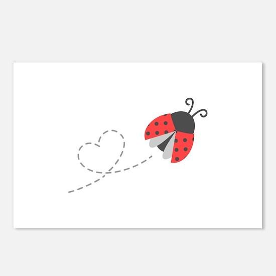 Cute Flying Ladybug, Heart Trail Postcards (Packag