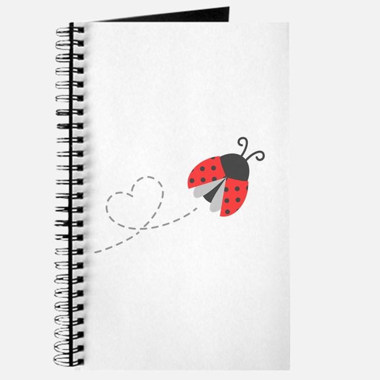 Cute Flying Ladybug, Heart Trail Journal