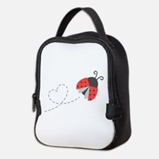 Cute Flying Ladybug, Heart Trail Neoprene Lunch Ba