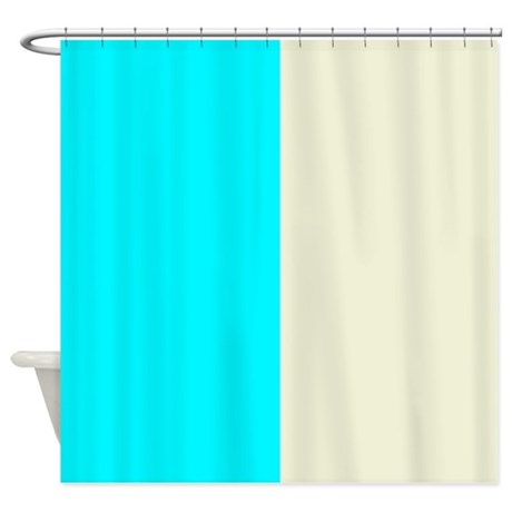 Aqua Blue And Cream Shower Curtain By PatternedShop