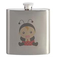 Cute Baby Girl in Ladybug Costume Flask