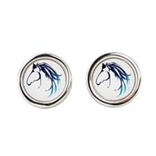 Classic Blue Horse Head Logo Round Cufflinks