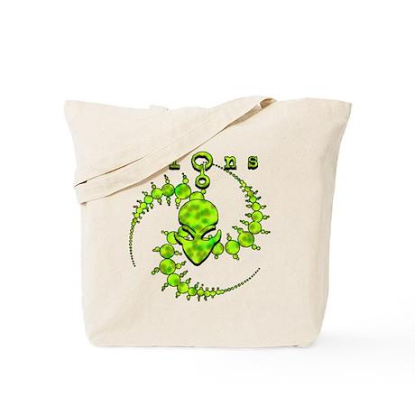 Spiral Crop Circle w/Alien Face Lime Tote Bag