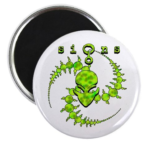 Spiral Crop Circle w/Alien Face Lime Magnet