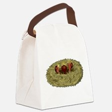 Birds nest with 3 hungry chicks Canvas Lunch Bag