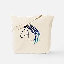 Classic Blue Horse Head Logo Tote Bag