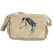 Classic Blue Horse Head Logo Messenger Bag
