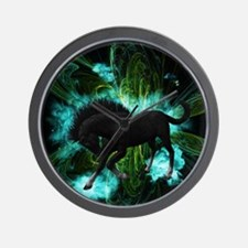 Beautiful horse with green clouds Wall Clock