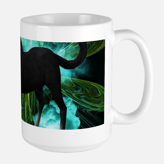 Beautiful horse with green clouds Mugs