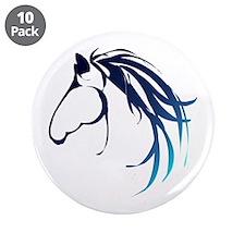 """Classic Blue Horse Head Logo 3.5"""" Button (10"""
