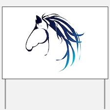 Classic Blue Horse Head Logo Yard Sign