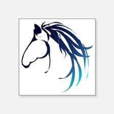 Classic Blue Horse Head Logo Sticker