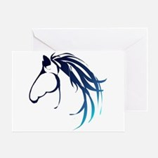 Classic Blue Horse Head Logo Greeting Cards