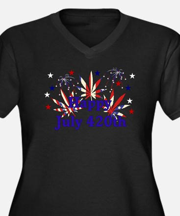 Happy July 4 Women's Plus Size V-Neck Dark T-Shirt