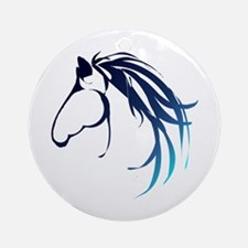 Classic Blue Horse Head Logo Ornament (round)